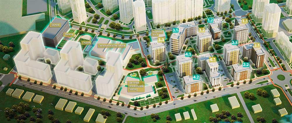 План-схема строительства ЖК Квартал Аллей